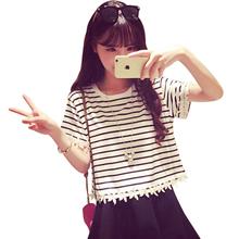 Hot sale 2015 fashion women T-shirt summer Korean temperament all-match lace hook flower edge stripe T-shirt short female 8023(China (Mainland))