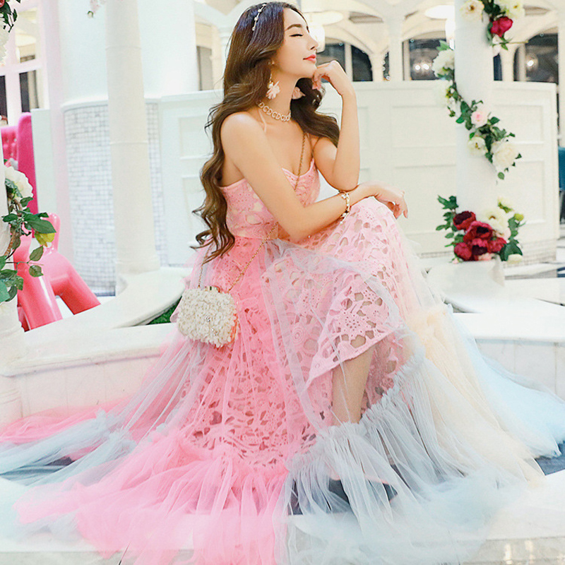 SexeMara 2017 Summer Women Cute Long Lace Dress Neon Colored Dresses(China (Mainland))