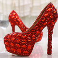 Free Shipping Red Crystal Rhinestone Diamond 14cm High Heels Women Bridal Wedding Shoes Women Big Size