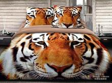 3D Tiger print bedding set queen size comforter duvet cover bed linen sheet quilt bedcloth bedspread bedsheet 100% cotton khaki