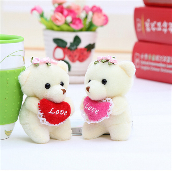 New Arrived 9cm Plush Toy Doll Bear Holding Heart Love Bear Love Dolls Valentines Day Teddy Bears for Girlfriend Gifts 1pcs/lot(China (Mainland))