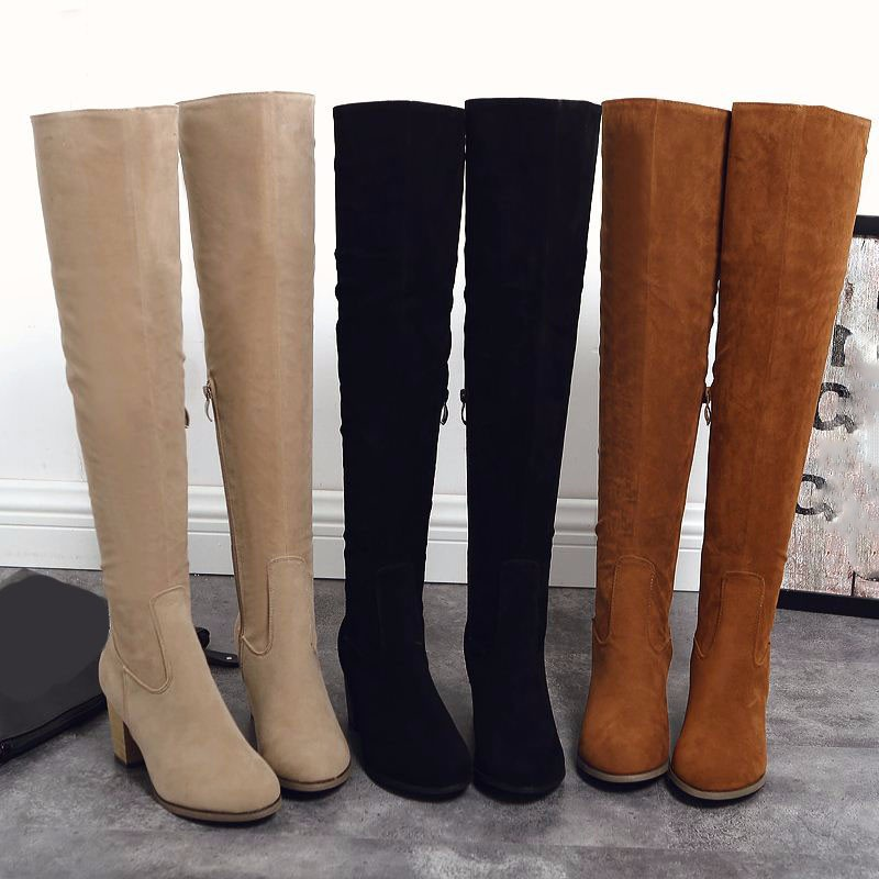 WETKISS 2016 Nubuck Women Over The Knee Boots Concise Thigh High Boots High Heels Shoes Long Keep Warm Winter Shoes Woman