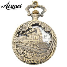 Buy wholesale unisex Steampunk Quartz Pocket watches Locomotive Vintage Bronze Necklace Pendant Chain Clock Watch ) for $4.19 in AliExpress store