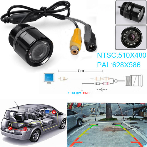 Fochtech Wired / Wireless 28mm Car Rear View CCD130degee Front&Back View Forward Camera Reverse Backup Parking(China (Mainland))