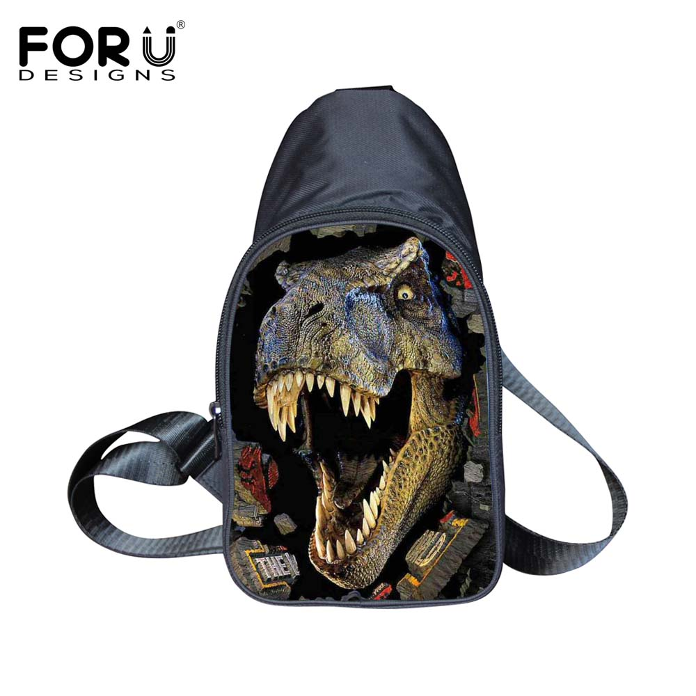 Famous Brand Men's Casual Messenger Bags Cool 3D Animal Dinosaur Chest Packs One Shoulder Travel Hiking Sport Zipper Sling Bags(China (Mainland))
