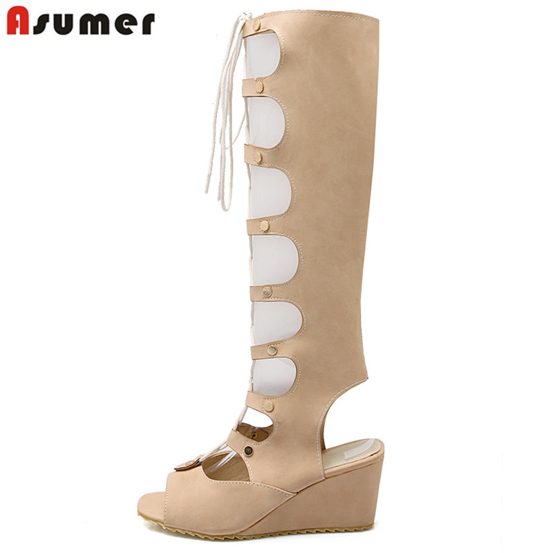 Big size 34-43 new fashion womens gladiator sandals wedges high heels knee high summer boots open toe lace up party shoes<br><br>Aliexpress