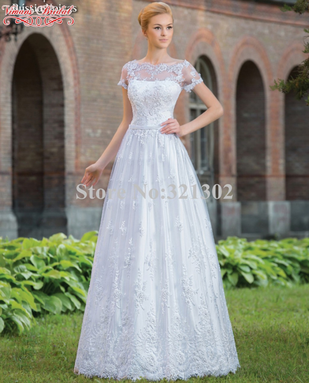 Viman 39 s bridal 2015 hot sale wedding dress appliques lace for Wedding dresses with sleeves for sale