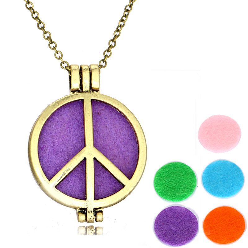 Vintage Gold Big Size 3.5*3.5CM Peace Sign Pendant Necklace Aromatherapy Lockets Peace Symbol Necklaces Jewelry For Women Femme(China (Mainland))