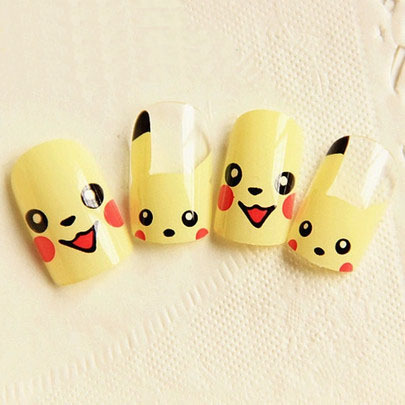 Pikachu Acrylic Nails Pikachu Nail Decoration