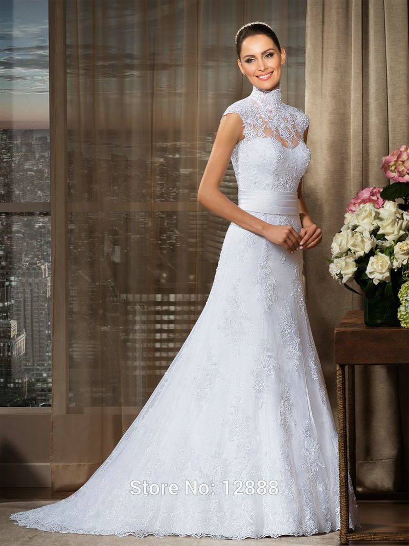 White lace vintage wedding dress sweep brush train high for White wedding dresses with long trains