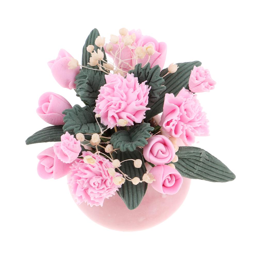 1:12 Scale Colorful Motif Ceramic Vase tumdee Dolls House Flower Accessory