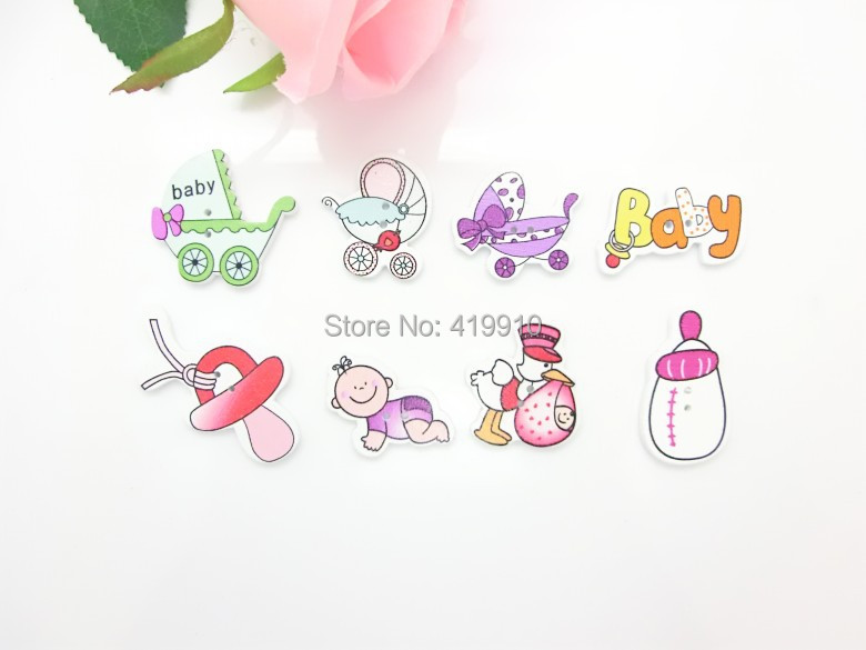 -8Mixed 2 Holes Pattern Cartoon Wood Sewing Buttons Scrapbooking D2470 - Lovely store