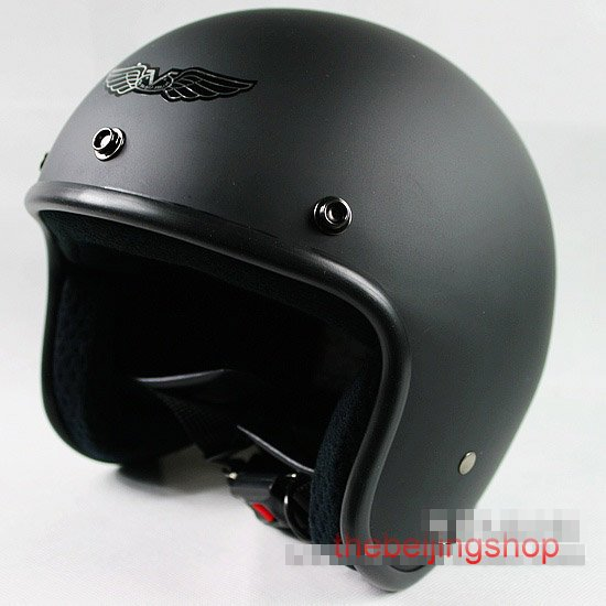 Wholesale New Full Black Motorcycle Scooter MotorBike Vintage 3/4 Open face bubble helmet , free size(China (Mainland))