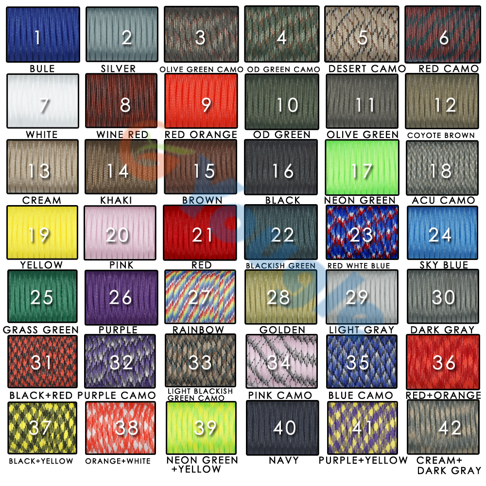 New Paracord 550 Parachute Cord Lanyard Rope Mil Spec Type III 7 Strand 100 FT 80 Colors