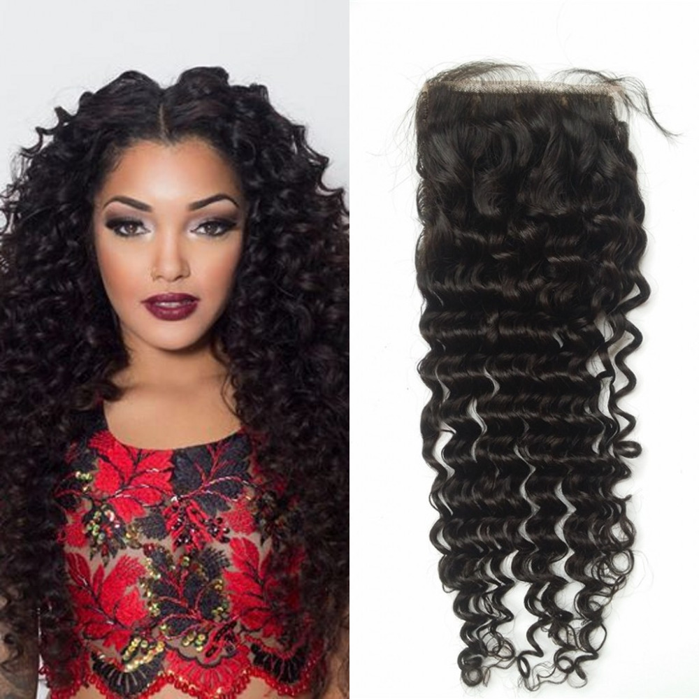 Cheap 7A 3 free part Indian Deep wave silk base closure with baby hair virgin grade 7A Indian deep curly closure<br><br>Aliexpress