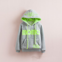 W-7, Children Hoodies, MOMO Winter cotton terry thick poly fleece lining long sleeve hooded sweatshirts(China (Mainland))