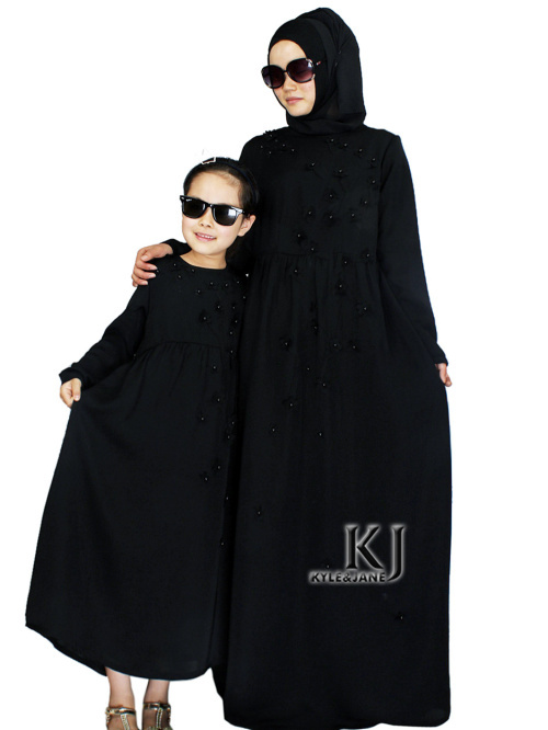 2015 New Family Fitted Black SA Abaya Children Traditional Islamic Clothing Muslim Dress Girls Maxi Long Jilbabs Abaya in Dubai(China (Mainland))