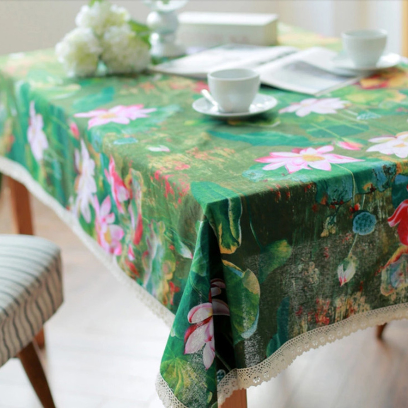 Linen Table Cloth Chinses Style Green Flower Water Lily Printed High Quality Tablecloths Table Cover Manteles Para Mesa Free Shi(China (Mainland))