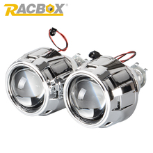 Buy Racbox 2.5Inch LHD RHD HID Bi xenon Mini Projector Lens Black White Shrouds H4 H7 Motorcycle Car Headlight H1 LED Bulb for $27.99 in AliExpress store