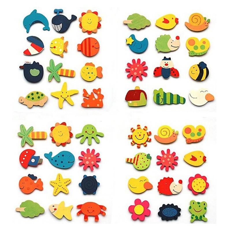 1Pack=12pcs x Fridge Magnet Mixed Cartoon Wooden Educational Toy Kitchen Creative Kid Gift Hot Selli