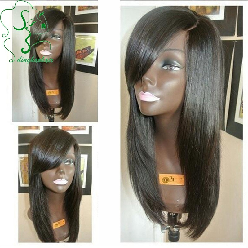 Peruvian virgin hair silk base wigs silk top glueless full lace human hair wigs with bangs left side part for african americans