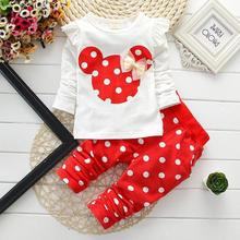 2015 new t shirt leggings pants baby kids suits 2 pcs   fashion girls clothing sets minnie children clothes bow tops suit retail(China (Mainland))