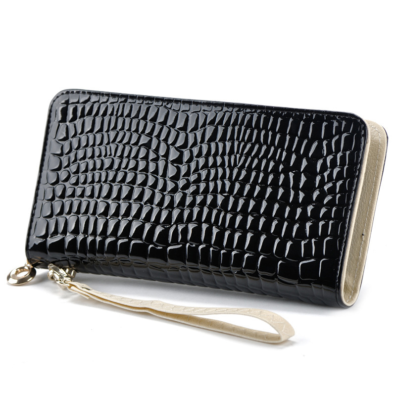 Design Fashion Standard Wallets Wristlet Bag Stone Patent Leather Wallet Lady Clutch Phone bags Coin Purse Wallets For Women(China (Mainland))