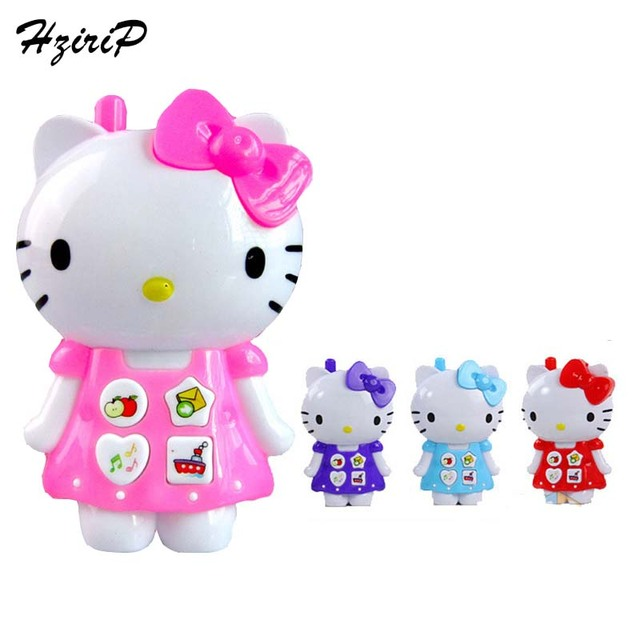 New Creative Cartoon Hello Kitty Music Light Phone Baby Toys Mobile Phone Educational Toy Simulation Phone Model Kids Gift