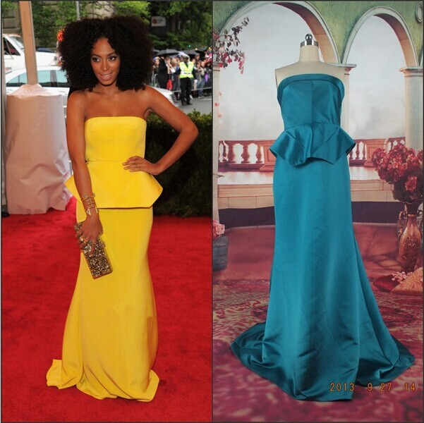 Solange Knowles Yellow Mermaid Strapless Peplum Full Length Satin Celebrity Red Carpet Dress
