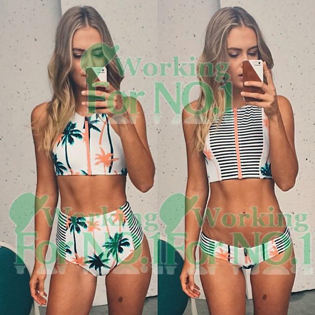 zipper high neck and waist women bikinis bikini set female print palm tree high waisted swimsuit printing striped swimwear S-XL(China (Mainland))