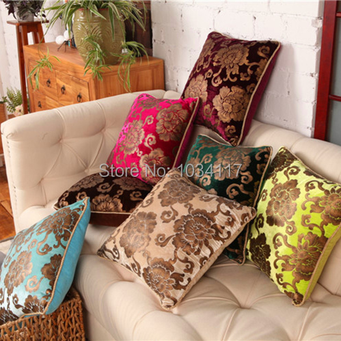 Custom Wholesale Vogue High quality European luxury velvet fabric soft bronzing seat cushion cover pillow case decorate for sofa(China (Mainland))