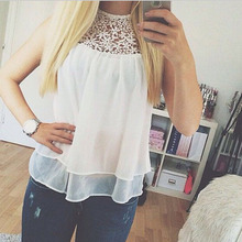 Hot Cheap White Lace Floral Hollow Chiffon Women T-Shirt Sleeveless Good Quality T-shirts For Women Tank Tops Ladies T-shirts(China (Mainland))
