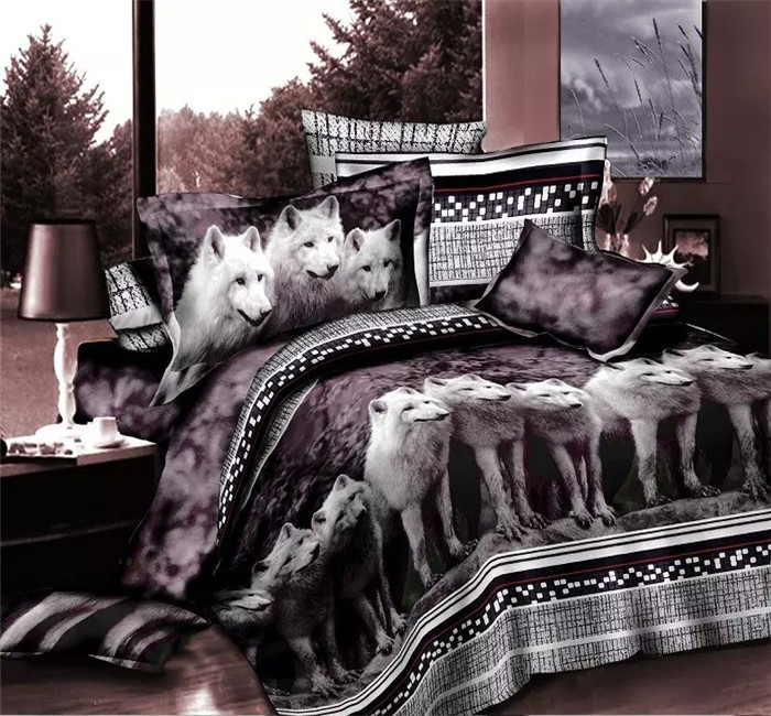 animal prints wolf bed set bedding set queen size bedcover 3d bedding set quilt cover sets in. Black Bedroom Furniture Sets. Home Design Ideas