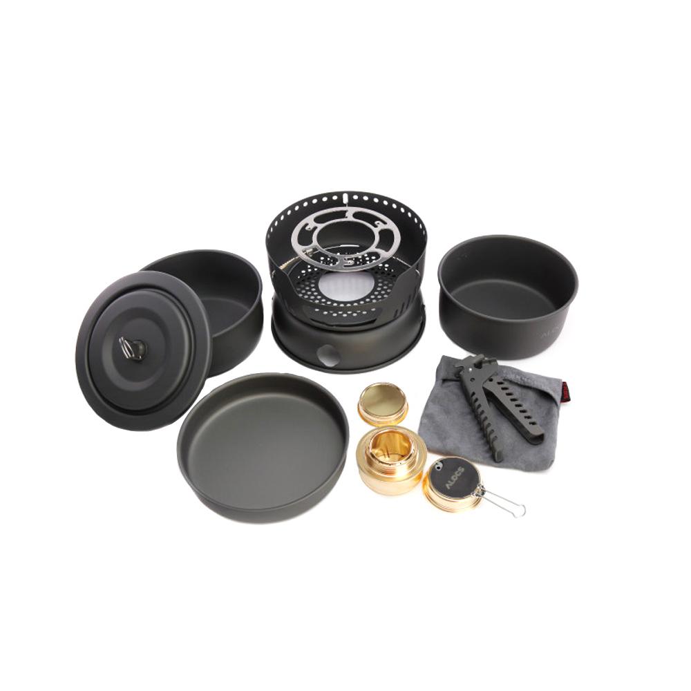 ALOCS 10Pcs Portable Outdoor Camping Cooking Set Cookware 2-4 Persons Picnic Pots Pan Alcohol Stove CW-C05(China (Mainland))
