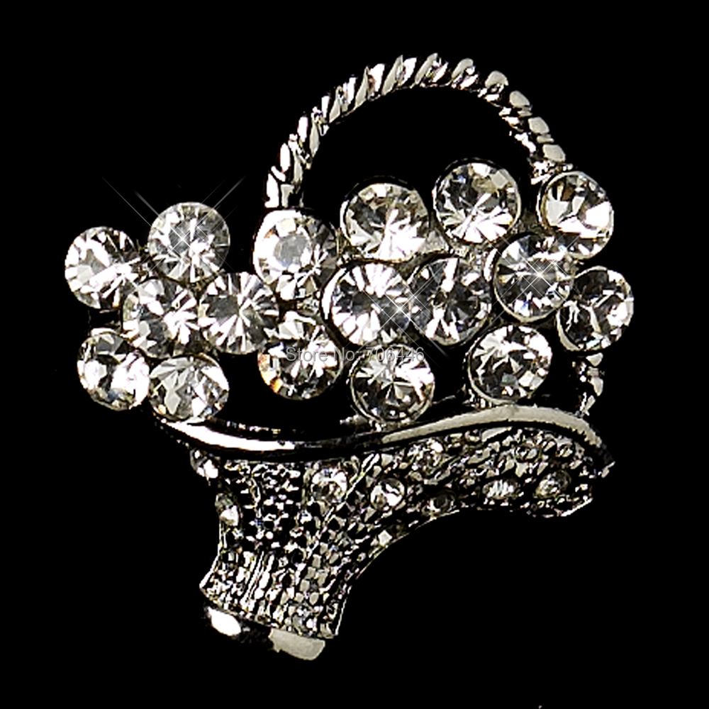 Small Size Antique Silver Clear Rhinestone Crystal Diamante Flower Basket Pin Brooch - Yiwu Liangqian Accessories Firm (Mini Order>$8 store)