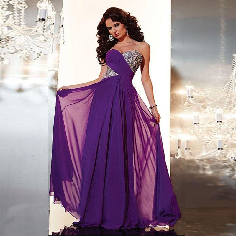 Modest Sweetheart A-line Purple Chiffon Pleats Beaded Floor length Long Prom Dresses Evening Party Gown 2013 Fast Shipping - Lhasa Roland_love store