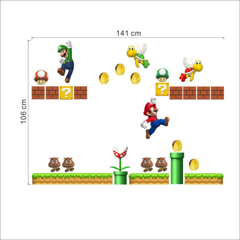 vintage home decor Cartoon Stickers Super Mario Wall Stickers For Kids Rooms Children Wall Stickers Bedroom Home Decor 141x106cm(China (Mainland))