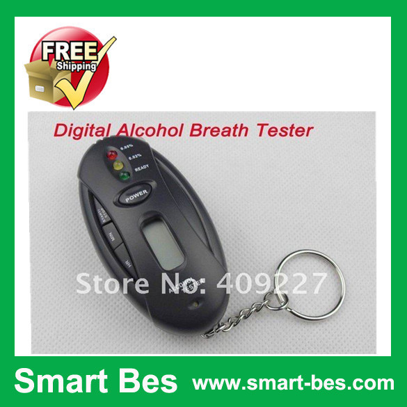 Free Shipping~~New Arrival~~30pcs / lot Digital LCD Blood Alcohol Breath Tester & Timer With Flashlight +Key Chain~~(China (Mainland))