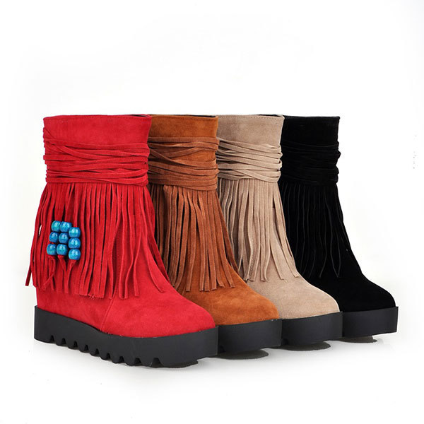 2015 Winter New casual solid color tassel boots round toe wedge heel boots beads boots comfortable women half boots D3200<br><br>Aliexpress