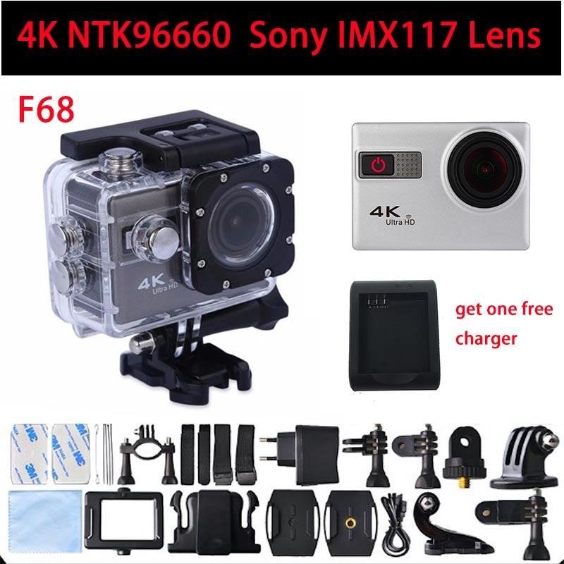 Новый F68 Новатэк 96660 Спортивная Камера 4 К 24FPS Wi-Fi Голос Оповещения 2 дюймов Wateproof Спорт Экстримального Камеры Автомобиля DVR