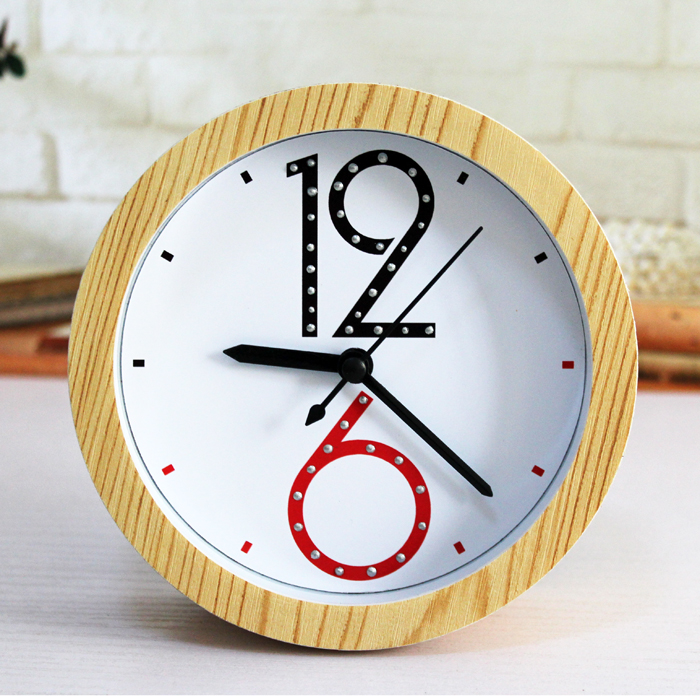 Fashion Creative Minimalist Wood Alarm Clock Brief Numbers