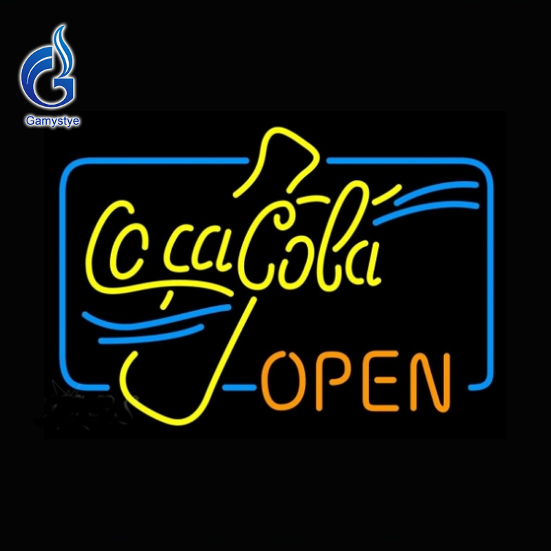 2016 Neon Sign Cocaa Coke Open Neon Bulb Beer Pub Soft Drink Neon Lights Outdoor a Frame Sign Lamp Glass Tube Affiche Neon 17x14(China (Mainland))