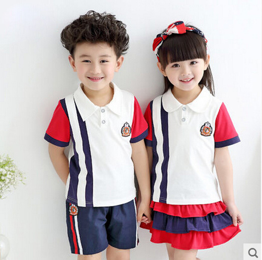 Kindergarten summer clothing 2015 primary school students short-sleeve clothes set baby boy girls choral school uniform suit<br><br>Aliexpress