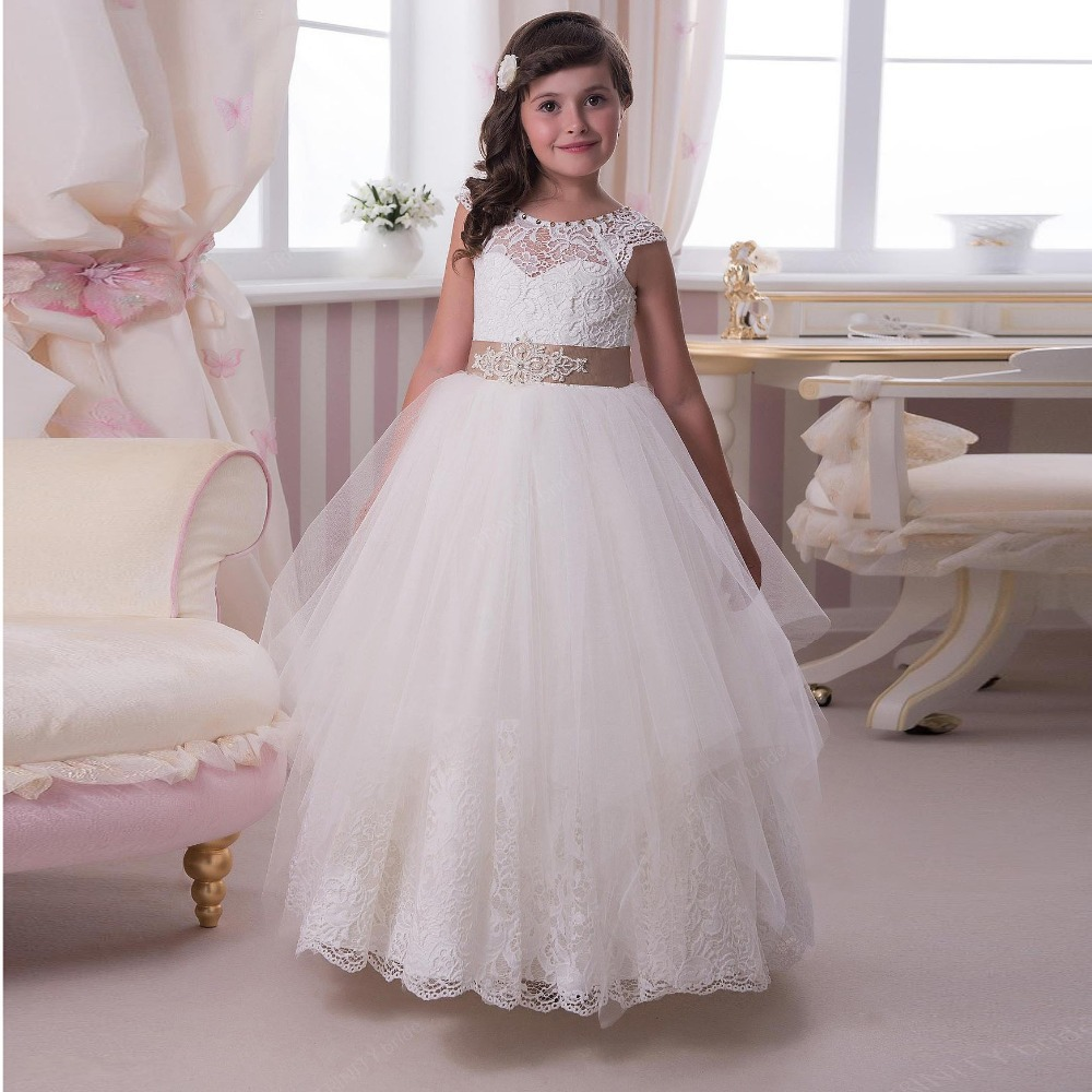 2015 lace flower girls dresses for wedding sheer scoop cap for Flower girls wedding dress