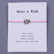 Pipitree רטרו פיל קסם צמיד ידידות השראה מתנה אדום חוט מתכוונן מאחל צמידי נשים גברים ילדים תכשיטים(China)