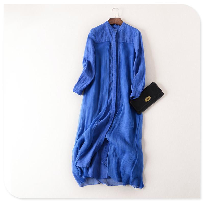 100% Linen Dress Long Sleeve Casual Stand Collar Women Maxi Dress 2016 Spring Linen Silk Patchwork Women Dress Robe Hiver Femme