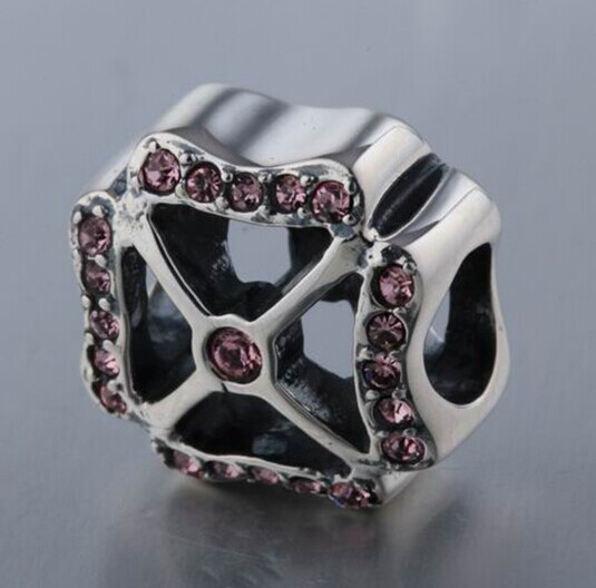 flower shaped Ruby beads high level 925 sterling silver diypandola style bead - RunHengYun Jewelry Factory store