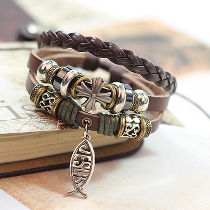 New Design Leather Bracelet Hot Jewelry Fashion Multilayer Cute Charm Wrap Bracelet For Women Men Jesus Cross Fish Pattern(China (Mainland))