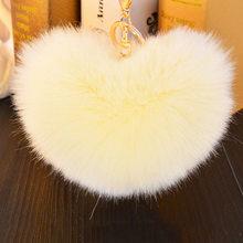 Cores 8 14 cm Saco Elegante Bolsa Da Forma da Forma Do Coração Bonito Em Branco Fofo Bola Pom Pom Pele De Coelho Chaveiro Coelho para Localizar As Chaves(China)
