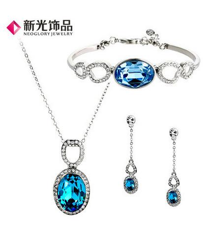 Fashionable Blue Stone Necklace Earrings Bracelet Set , Jewelry sets,